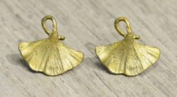 Michael Michaud Silver Seasons Ginkgo leaf stud earrings