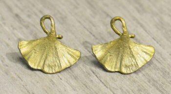 Michael Michaud Silver Seasons Ginkgo leaf stud earrings
