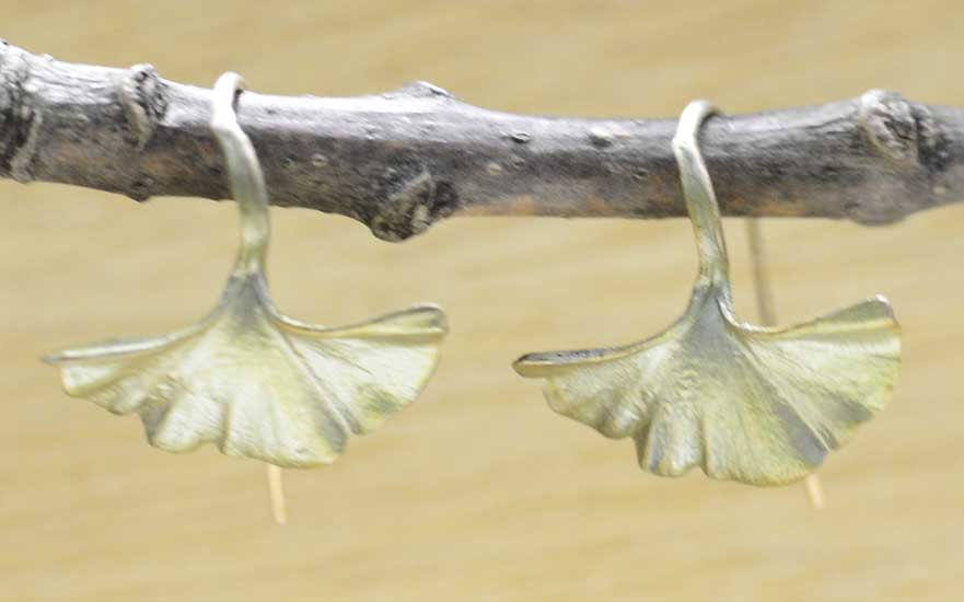 Petite green Ginkgo leaf earrings by Michael Michaud