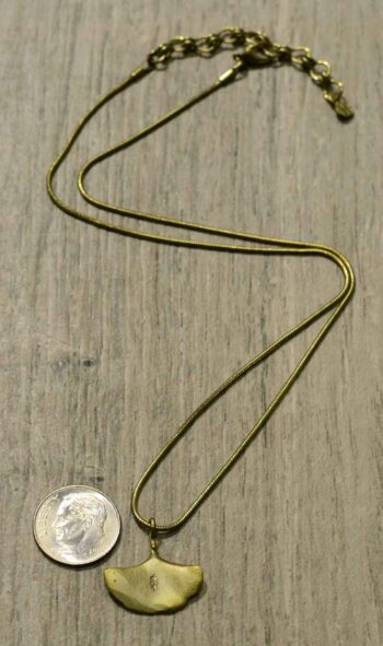back of Michael Michaud ginkgo necklace with dime