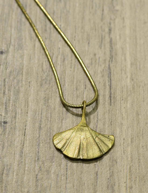handmade ginkgo leaf necklace by Michael Michaud