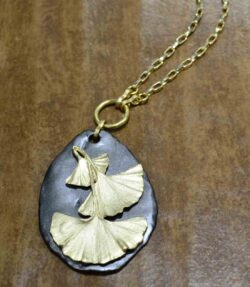 Second Nature ginkgo on pebble large pendant
