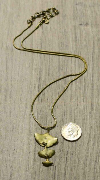 back of triple ginkgo leaf necklace