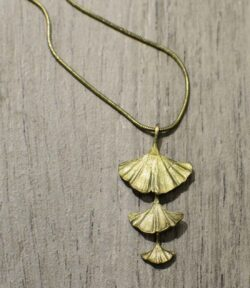 handmade Michael Michaud bronze triple Ginkgo leaf necklace