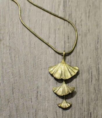 handmade Michael Michaud bronze triple Ginkgo leaf necklace