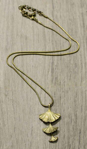 handmade triple ginkgo leaf necklace by Michael Michaud