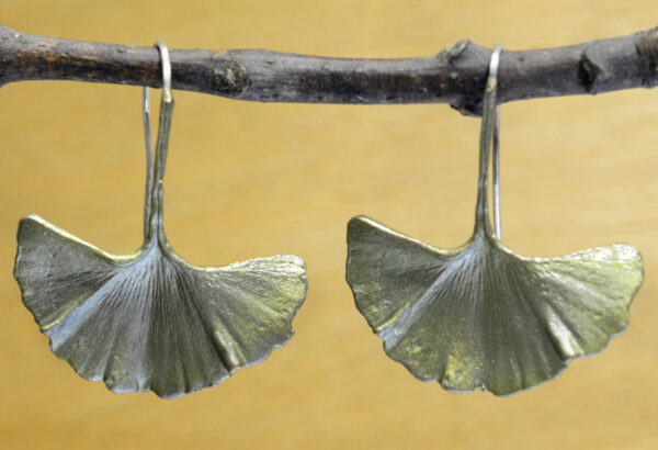 Michael Michaud Silver Seasons large ginkgo leaf earrings