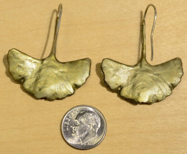 Back of Michael Michaud large ginkgo leaf earrings, shown with dime (not included) for scale