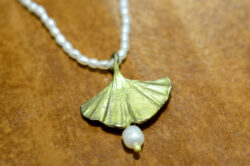 pearl accented ginkgo leaf necklace by Michael Michaud