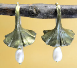 Michael Michaud Silver Seasons ginkgo leaf with pearls drop earrings