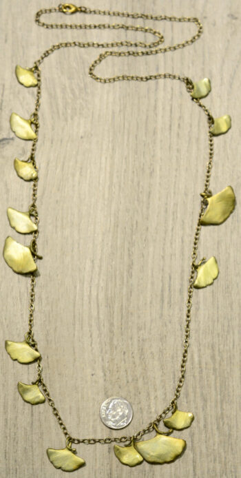 Michael Michaud Silver Seasons extra long ginkgo necklace, back view, shown with dime (not included) for size comparison