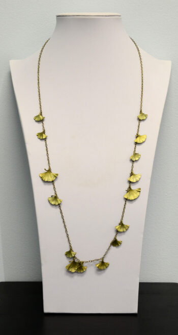 Michael Michaud Silver Seasons extra long ginkgo necklace