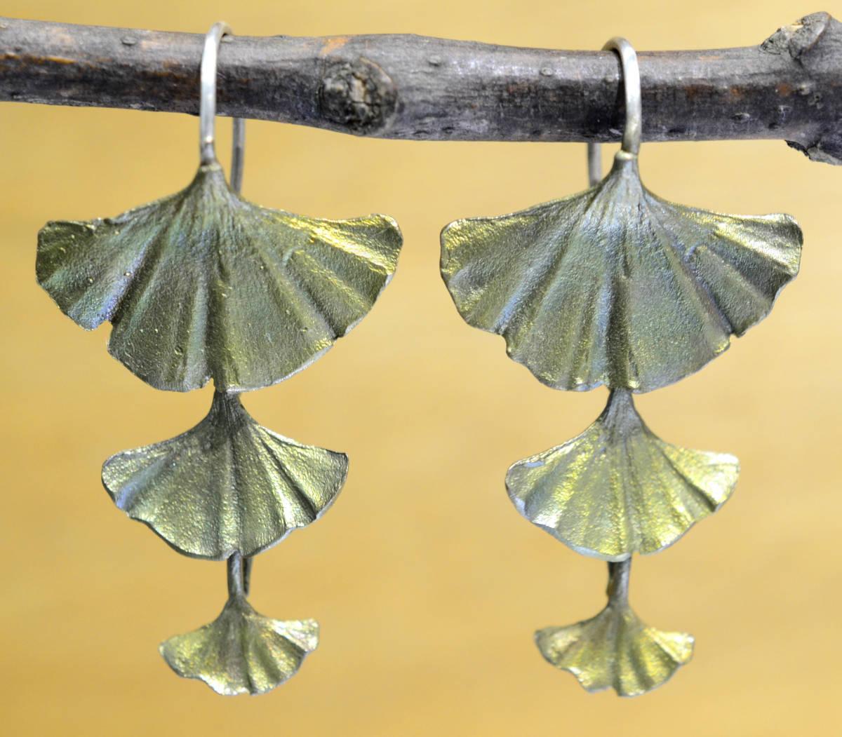 Michael Michaud Silver Seasons triple leaf Ginkgo dangle earrings