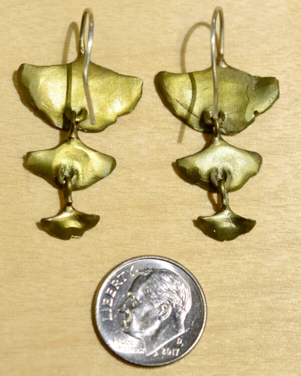 Back of Michael Michaud triple leaf ginkgo dangle earrings, shown with dime (not included) for scale