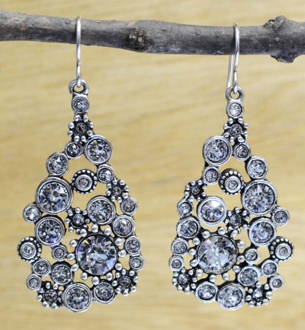 "Glam silver tone earrings in color ""All Crystal"""