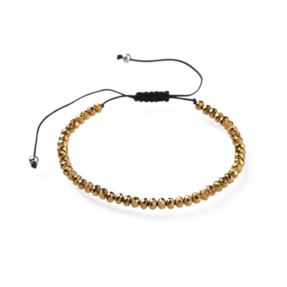 gold-tone metallic art glass faceted beaded bracelet