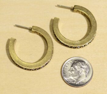 Gold Digger hoop earrings with dime for size