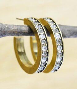 "Gold Digger hoop earrings in color palette ""All Crystal"" by Patricia Locke"