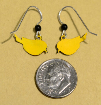 back of yellow and black Goldfinch Sienna Sky earrings with dime