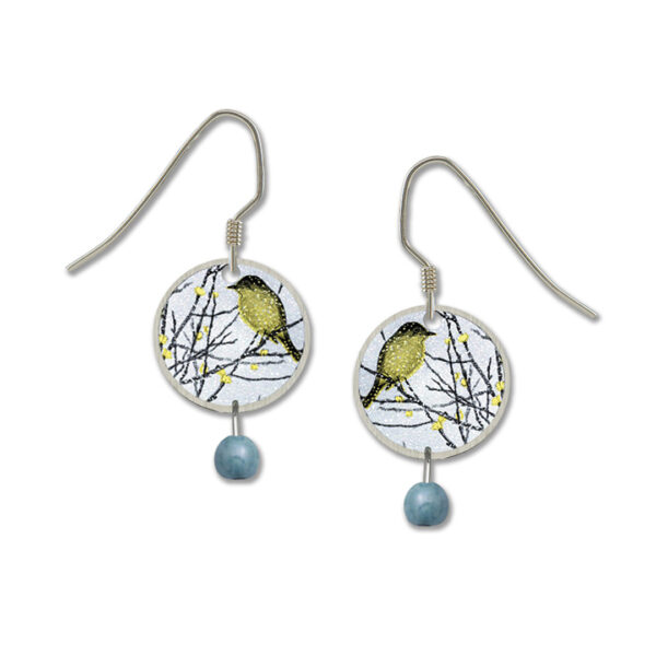 goldfinch on branches earrings