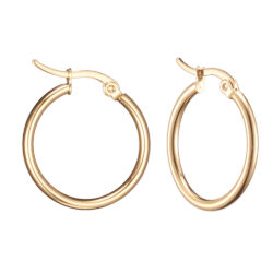 18 MM Diameter by 2mm wide gold-plated stainless steel hoop earrings