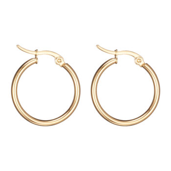 18 mm diameter by 2 mm wide stainless steel tube hoop earrings