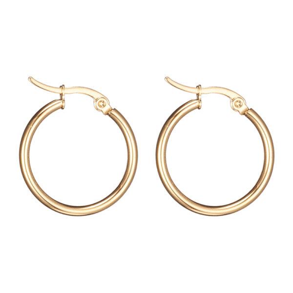 18 mm diameter by 2 mm wide stainless steel tube hoop earrings