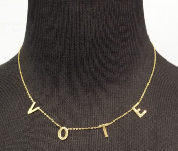 gold-plated sterling silver vote necklace