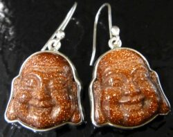 Orange goldstone laughing Buddha and sterling silver earrings