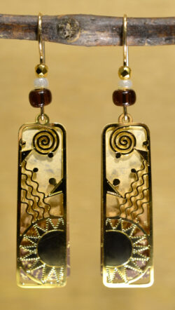 brown and goldtone sun design column earrings