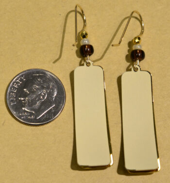 back of brown and goldtone sun design column earrings with dime