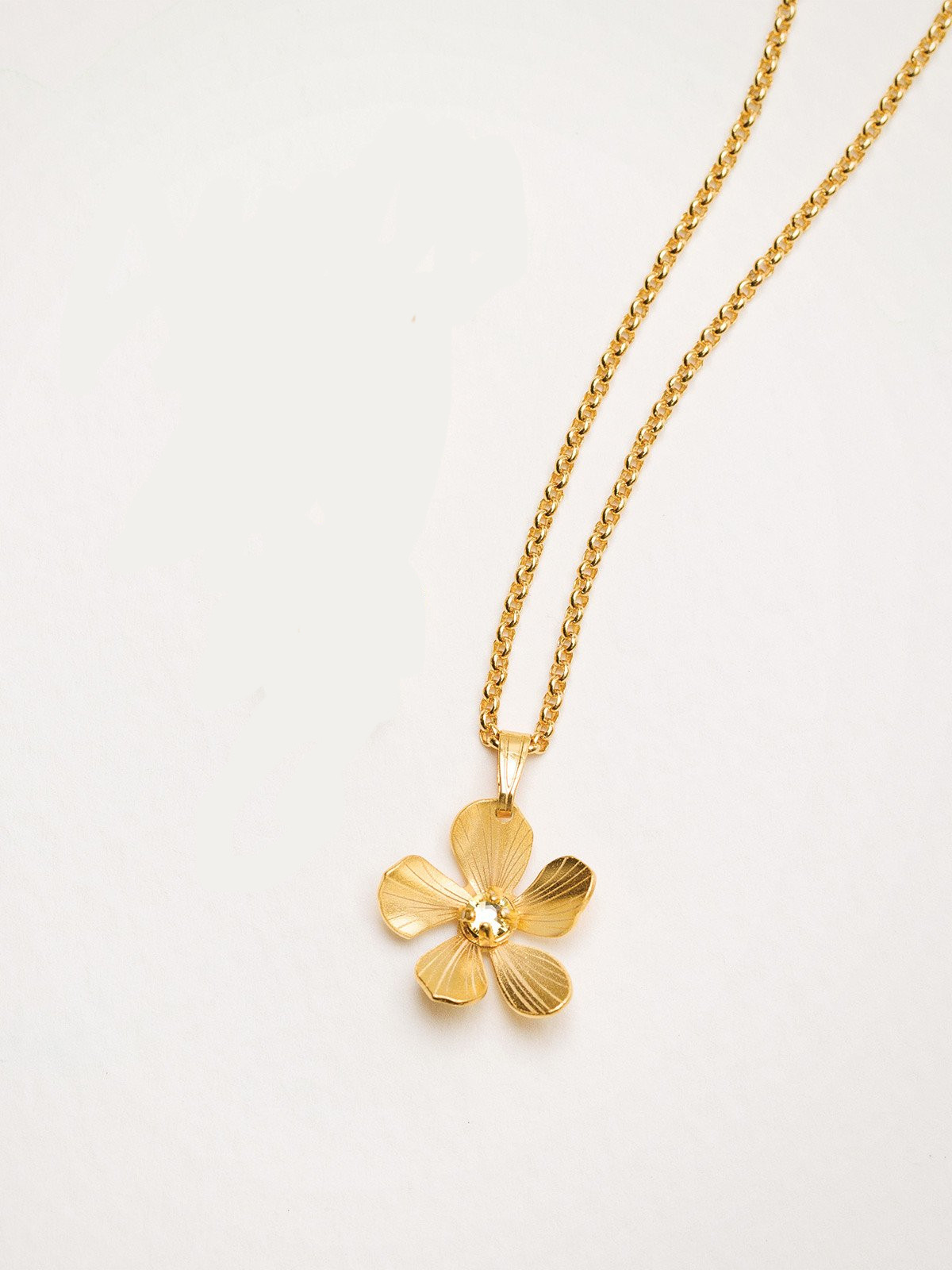 petite goldtone plumeria flower necklace