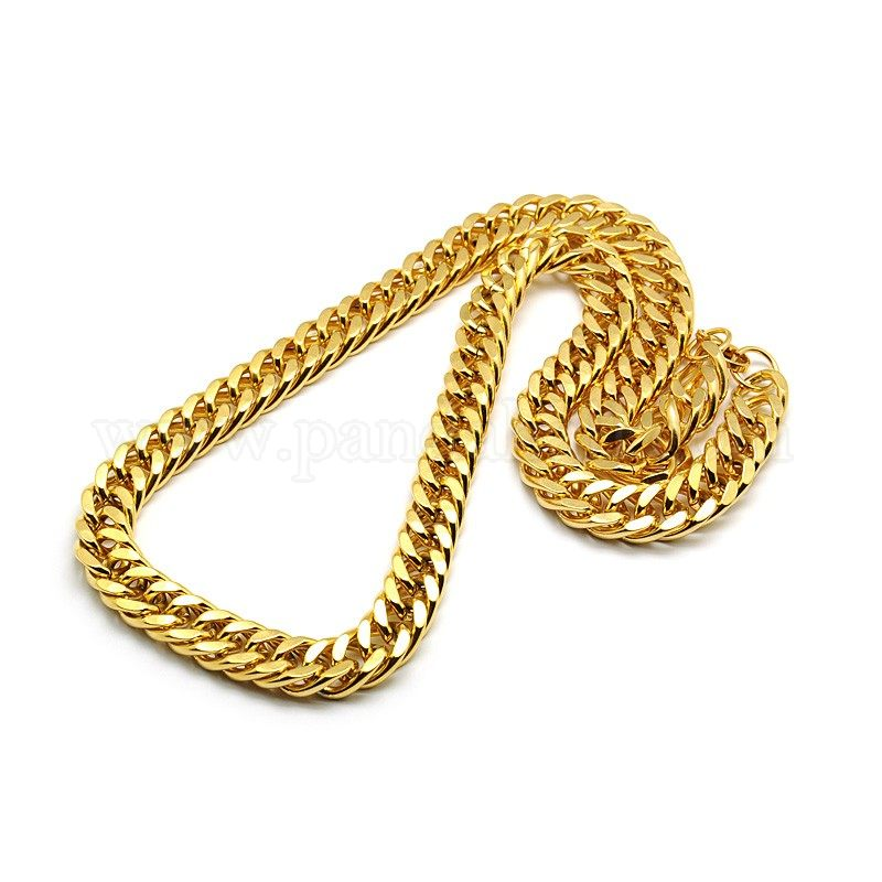 Gold-tone stainless steel Cuban link chain