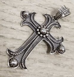 Gothic Cross sterling silver pendant