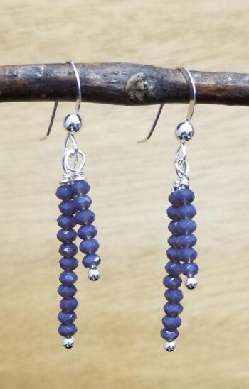 Gray tiny faceted art glass beaded earrings