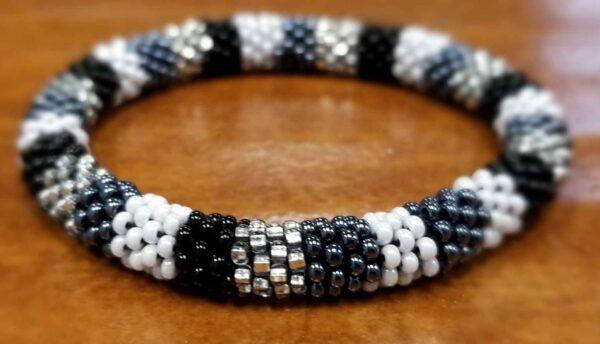 roll-on Czech glass black, gray, white, seed bead bracelet