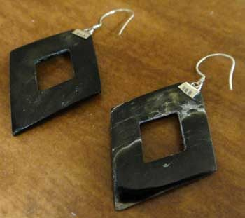 back of gray mother of pearl earrings