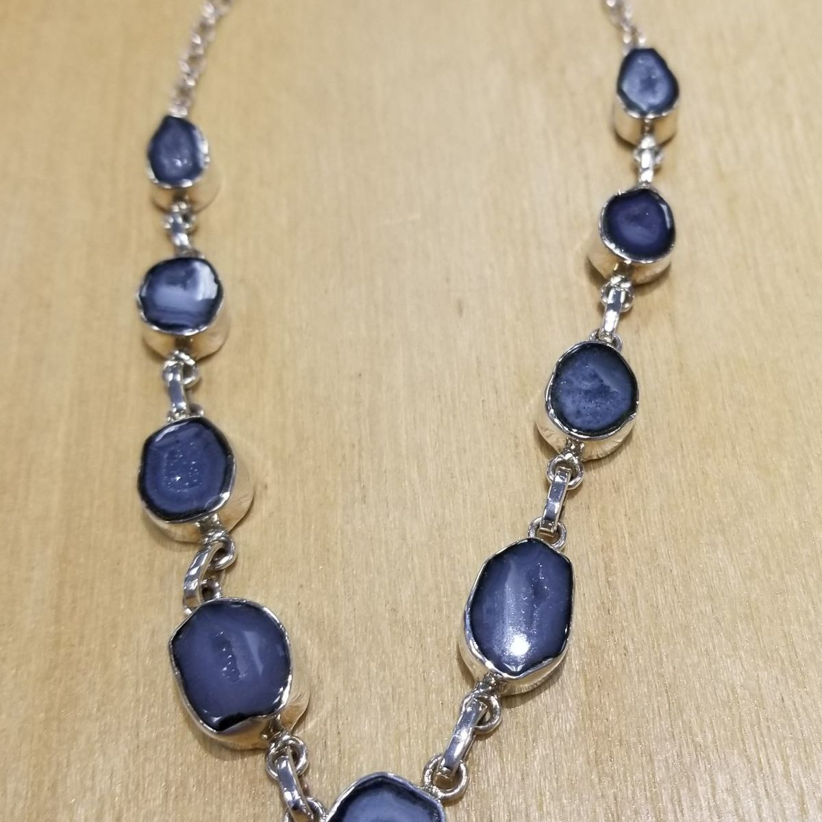gray geode and sterling silver necklace