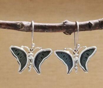 gray green butterfly shape earrings