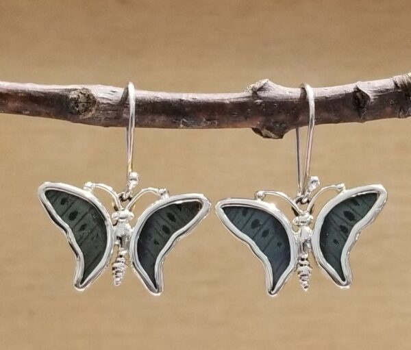 gray green butterfly shape earrings