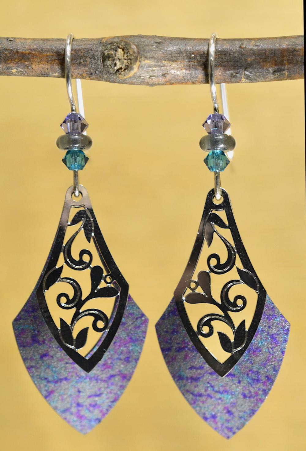 Gray, purple, teal drop Adajio earrings