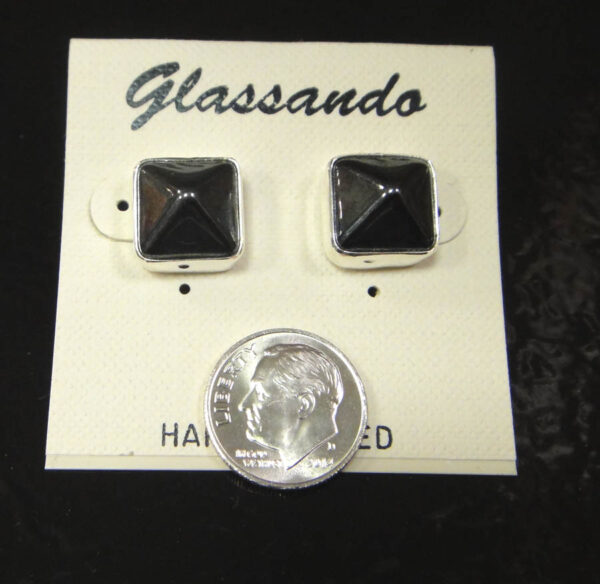 3D gray czech glass pyramid stud earrings with dime for size