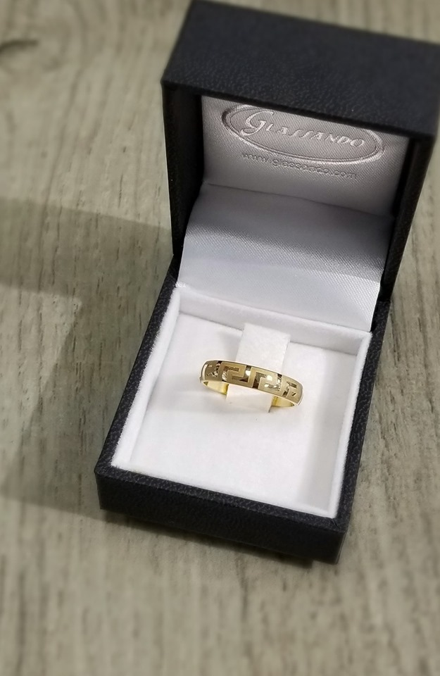 Greek key laser engraved 10K yellow gold wedding ring