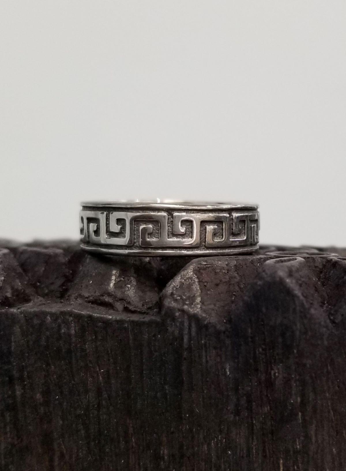 Greek key pattern sterling silver ring