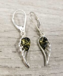 green amber sterling silver angel wing earrings