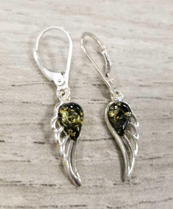 green amber sterling silver angel wing earrings