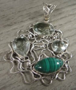 green amethyst and malachite sterling silver pendant