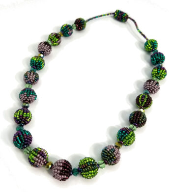 green and purple beaded necklace with magnet clasp