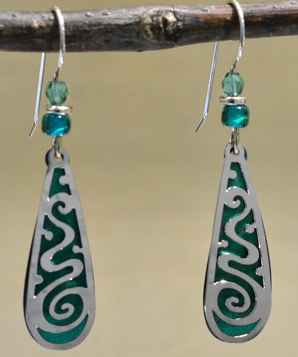 green and teal silvertone swirl Adajio earrings