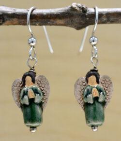 handmade green ceramic angel earrings